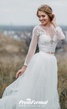 Rustic Illusion Long Sleeve Lace Crop Top Bridal Separates Two Piece Wedding Dress BWD158