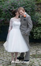 One Shoulder 3/4 Sleeved Lace Tea Length 50s style Wedding Dress 2nd Marriage BWD166
