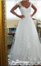 Vintage Lace Straps Open Back Long A line Wedding Dress for Black Ladies BWD167