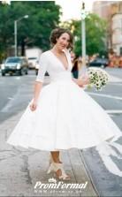 Deep V neck Half Sleeve Tea Length Pinup Plunge 50s Style Wedding Dress BWD168