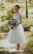 Cap Sleeve White 1950s Polka Dot Vintage Tea Length Wedding Dress BWD169