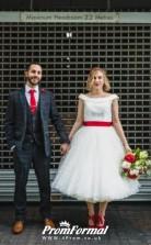 Classic Fuller Figure Polka Dot Tulle 50s Style Tea Length Wedding Dress BWD175