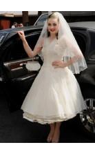 Rockabilly Tea Length Ruched 50s Style Short Wedding Dress Honeymoon BWD176