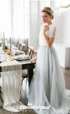 Flowy Rustic Lace Short Sleeved Crop Top Autumn Summer Wedding Dress Bridesmaid BWD185