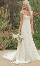 Romantic Cap Sleeves Mermaid Garden Lace Wedding Dress With Train BWD186