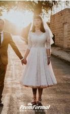 Vintage 1960s Half Sleeved Lace V neck Tea Length Country Wedding Dress BWD189