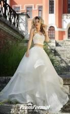 Sexy Crop Top Two Piece Ruffle Wedding Dress Wedding Skirt Civil Ceremony BWD194