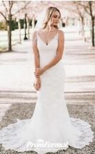Mermaid Straps Lace Wedding Dress Slight with Straps BWD197