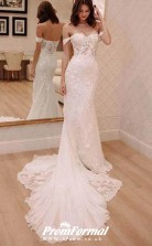 Vintage Off the Shoulder Mermaid Lace Wedding Dress BWD198