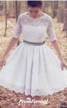 Vintage 1950s Short Knee Length Half Sleeve Lace Wedding Dress BWD201