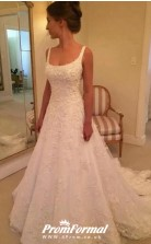 A line Scoop Neck Lace Petite Wedding Dress BWD202