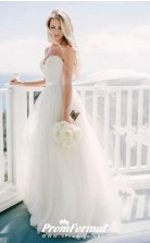 Simple Tulle Country Straps Sweetheart Princess Wedding Dress BWD204