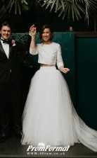 Tulle Stylish Long Sleeves Two Piece Wedding Dress for Garden Themed BWD206