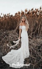 Mermaid  Rustic Off the Shoulder Lace Wedding Dress BWD213