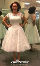 Tea Length Lace Short Sleeve Vintage Plus Size 1950s Wedding Dress BWD215