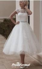 Vintage Cap Sleeves 1950s A Line Tea Length Lace Retro Wedding Dress BWD216