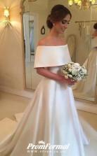 Simple Satin Wedding Dress Off the Shoulder Wedding Dress BWD220
