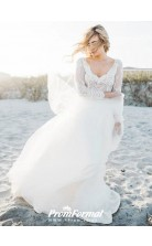 Long Sleeve Beach Lace Two Piece Wedding Dress BWD223