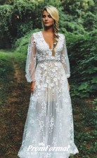 Boho Lace Appliques See Through Long Sleeve Rustic Wedding Dress BWD224