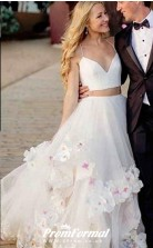 Two Piece Straps Long Wedding Dress with Handmade Flowers BWD226