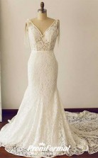 Lace V Neck Mermaid Wedding Dress Sweep Train Hourglass Body BWD227