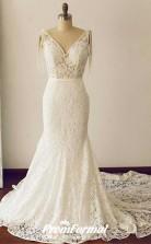 Lace V Neck Mermaid Wedding Dress Sweep Train Hourglass Body BWD227