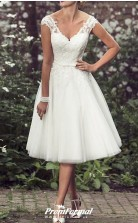 A-Line V Neck Tea Length Lace Tulle Vintage Beading Wedding Dress BWD230