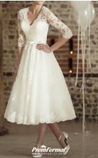 V Neck Tea Length Lace Half Sleeve Vintage Little White Dress 1950s Illusion Sleeve Wedding Dress BWD233