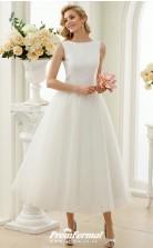 Rockabilly Tea Length Simple Little White Dress 50s Wedding Dress BWD234