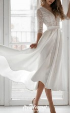 V Neck Asymmetrical Tea Length Lace Satin 3/4 Length Sleeve Vintage 1950s Wedding Dress BWD236