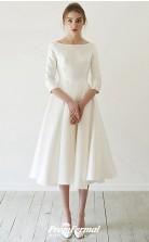 V Neck Tea Length Satin Short Sleeve Simple Vintage Little White Dress BWD238