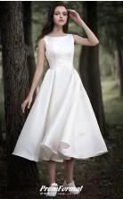 Country Tea Length Cap Sleeve Simple Casual Little White Dress Gardern Wedding BWD239