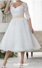 Tea Length Lace Tulle Half Sleeve Country Plus Size Wedding Dress BWD241