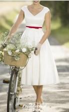 Rockabilly V Neck Tea Length Country Cap Sleeve Vintage Wedding Dress BWD242