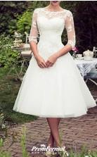 Tea Length Lace Tulle Half Sleeve Vintage Rockabilly 50s Wedding Dress BWD243