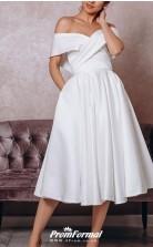 Off Shoulder Tea Length Satin Sleeveless Vintage Little White Dress 1950s Wedding Dress BWD244
