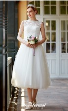 Vintage Tea Length Lace Formal Casual Illusion Outdoor Wedding Dress BWD247