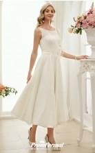 Tea Length Simple Rockabilly Vintage Little White Dress 1950s Wedding Dress BWD251