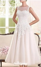 Simple Country Tea Length Lace Tulle Sleeveless Vintage 1950s Wedding Dress BWD252