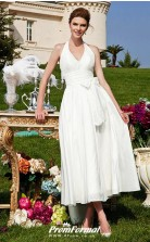 A-Line Wedding Dresses Halter V Neck Tea Length Gardern Wedding Dress BWD254