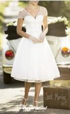 Simple V Neck Tea Length Chiffon Short Sleeve Vintage 60s Wedding Dress BWD255