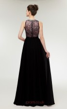 A-line Black Lace 30D Chiffon Bateau Neck Long Prom Dresses XH-C0002B