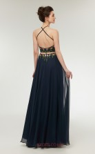 Two Piece A-line Navy Blue Chiffon Halter Long Prom Dresses XH-C0006