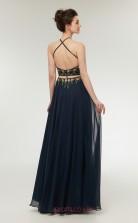 Two Piece A-line Navy Blue Chiffon Halter Long Prom Dresses XH-C0006