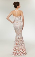 Mermaid White Sequined Illusion Long Prom Dresses XH-C0011