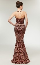 Mermaid Bronze Sequined Illusion Long Prom Dresses XH-C0013