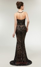 Mermaid Black Sequined Illusion Long Prom Dresses XH-C0014