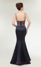Mermaid Black Embroidery Satin Sweetheart Neck Long Prom Dresses XH-C0020