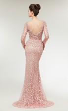Mermaid Pink Lace V-neck Long Sleeve Long Prom Dresses XH-C0021