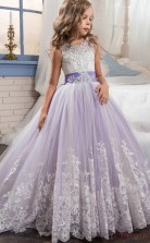 Lilac Ball Gown Sleeveless Kids Prom Dress for Girls CH0100